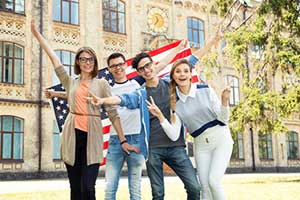 Group of foreign exchange students with an F-1 visa