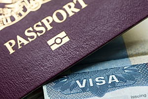 a passport next to an L-1 visa held by a professional employee