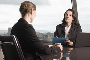 Attorney consulting with client