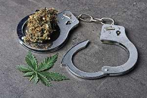 Cannabis with handcuffs depicting decriminalization. Virginia recently decriminalized marijuana