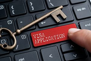 Visa application key on keyboard