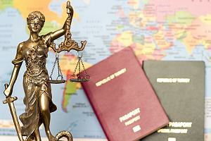 Lady justice in front of EB-2 visa