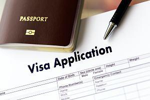 Visa application on desk