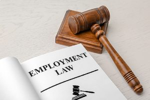 Employment Law book and gavel on a desk. Consult an employment law attorney for speedy EB-3 visa