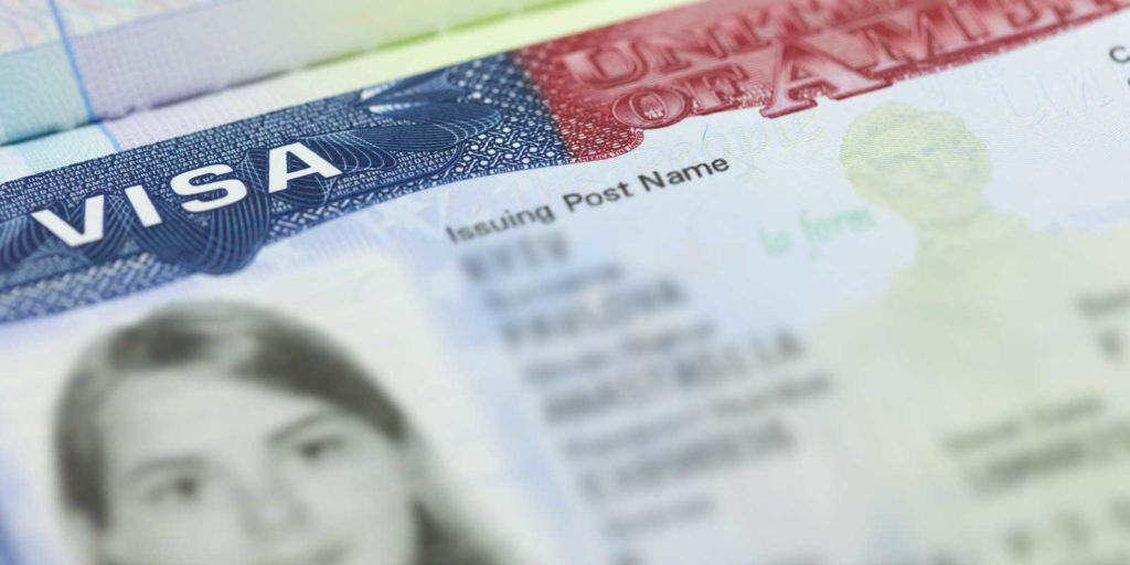Closeup of EB-3 visa paperwork