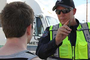Police officer performing a DUI test